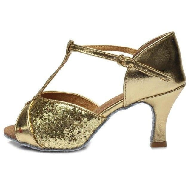 Sequin Glittered Satin Heel Latin Dance Shoes | Bridelily - 7CM Gold / 3.5 - latin dance shoes