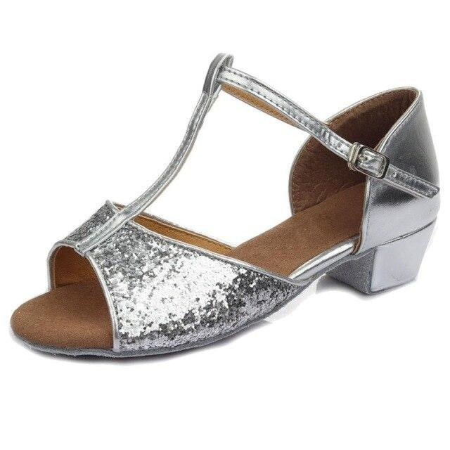Sequin Lace-Up Buckle Low Heel Jazz Dance Shoes | Bridelily - silver / 9.5 - jazz dance shoes
