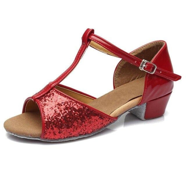 Sequin Lace-Up Buckle Low Heel Jazz Dance Shoes | Bridelily - red / 9.5 - jazz dance shoes