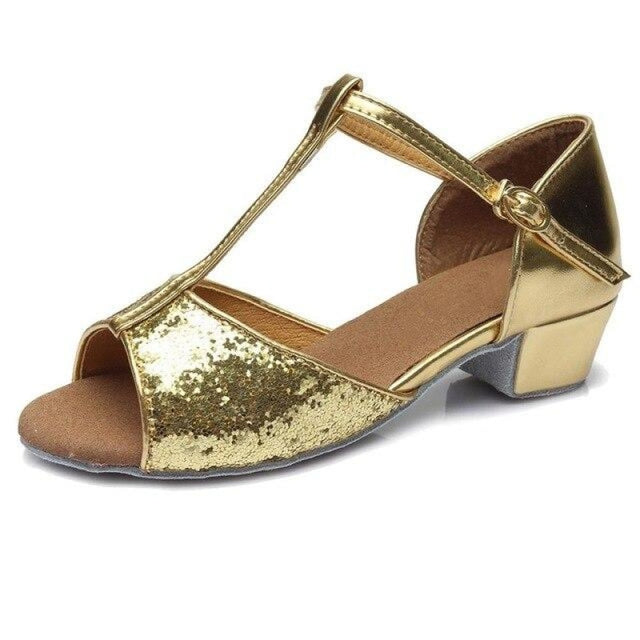 Sequin Lace-Up Buckle Low Heel Jazz Dance Shoes | Bridelily - gold / 9.5 - jazz dance shoes