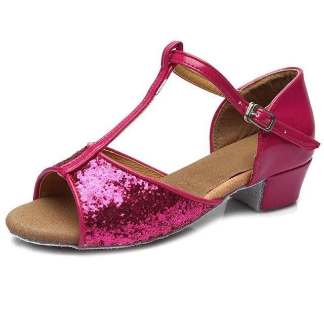 Sequin Lace-Up Buckle Low Heel Jazz Dance Shoes | Bridelily - rose red / 9.5 - jazz dance shoes
