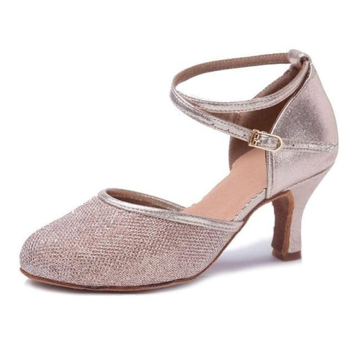 Sequined Buckles Soft Sole Ballroom Dance Shoes | Bridelily - Pink 7cm / 3.5 - ballroom dance shoes