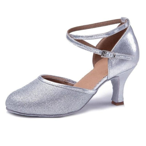 Sequined Buckles Soft Sole Ballroom Dance Shoes | Bridelily - Silver 7cm / 3.5 - ballroom dance shoes