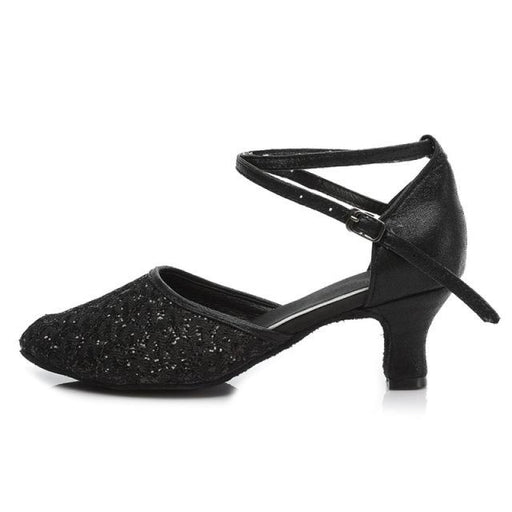 Sequined EVA Cotton Heels Ballroom Dance Shoes | Bridelily - Black 5CM / 3.5 - ballroom dance shoes