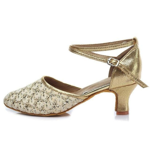 Sequined EVA Cotton Heels Ballroom Dance Shoes | Bridelily - Gold 5CM / 3.5 - ballroom dance shoes