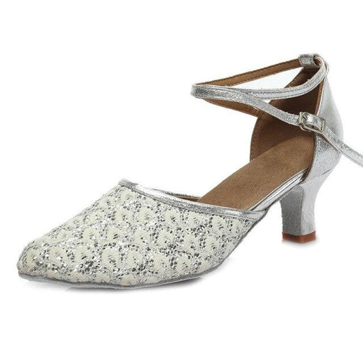 Sequined Lace-Up Medium Ballroom Dance Shoes | Bridelily - Silver 5CM / 3.5 - ballroom dance shoes