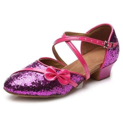 Sequined Lace-Up PU Buckle Ballroom Dance Shoes | Bridelily - Purple / 9.5 - ballroom dance shoes