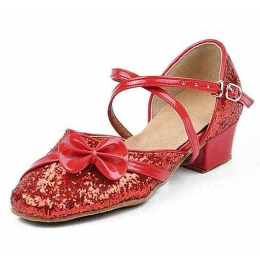 Sequined Lace-Up PU Buckle Ballroom Dance Shoes | Bridelily - Red / 9.5 - ballroom dance shoes