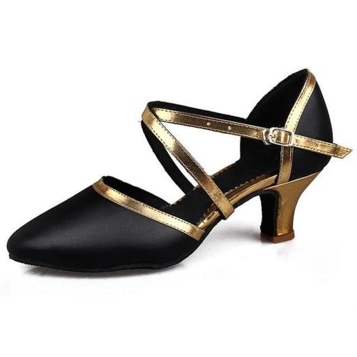 Sequined Leather Low Heel Ballroom Dance Shoes | Bridelily - 5cm heels BlackGold / 6 - ballroom dance shoes