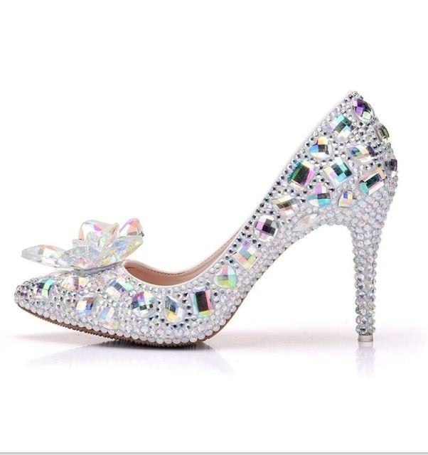 Sequins Pointed High-Heeled Wedding Pumps | Bridelily - AB COLOR / 34 - wedding pumps
