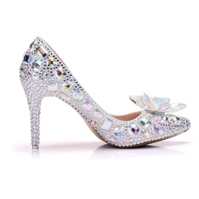 Sequins Pointed High-Heeled Wedding Pumps | Bridelily - wedding pumps