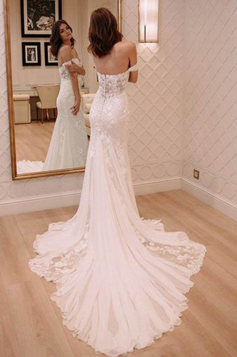 Sexy Off Shoulder Appliqued Beach with Court Train Ivory Wedding Dress - Wedding Dresses