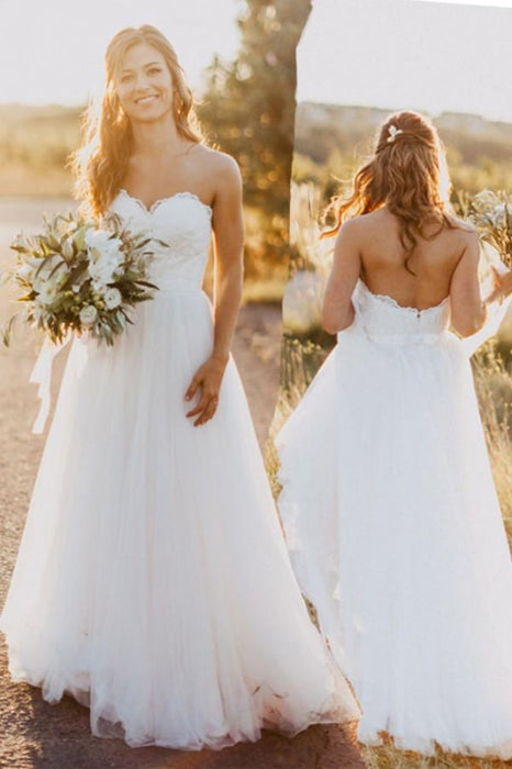 Sexy Sweetheart White Tulle Backless Beach with Lace Long Wedding Dress - Wedding Dresses
