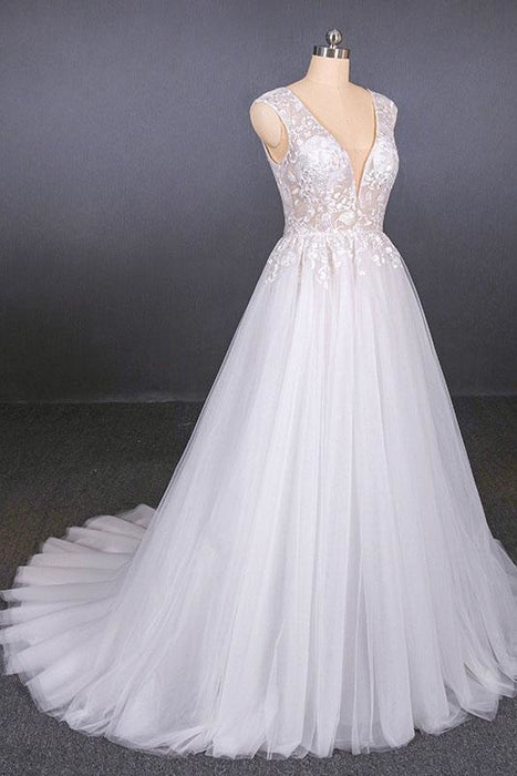 Sexy V Neck Tulle with Lace Appliques A Line Backless Wedding Dress - Wedding Dresses
