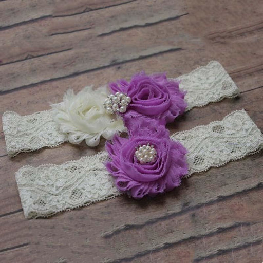 Shabby Chiffon Ivory Lace Wedding Garters | Bridelily - violet / One Size - garters