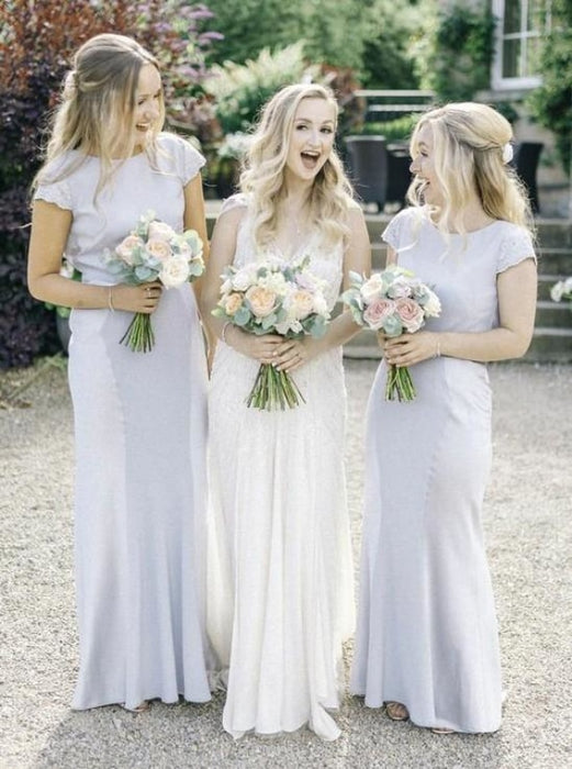 Sheath Bateau Cap Sleeves Light Gray Bridesmaid Dress - Bridesmaid Dresses