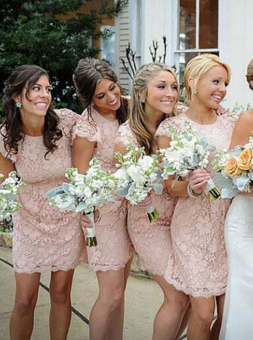 Sheath Crew Short Cap Sleeves Pink Lace Bridesmaid Dress - Bridesmaid Dresses