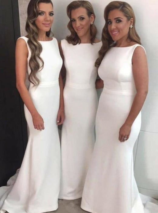 Sheath Round Neck Sleeveless White Satin Bridesmaid Dress - Bridesmaid Dresses