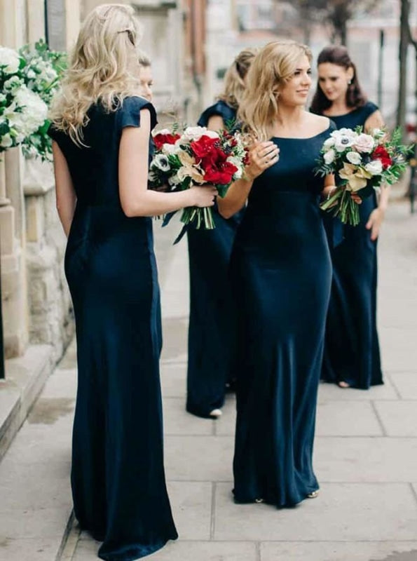 Sheath Sccop Sleeveless Navy Blue Satin Bridesmaid Dress - Bridesmaid Dresses