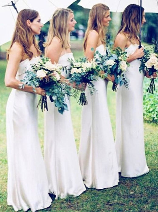 Sheath Spaghetti Straps Floor Length White Satin Bridesmaid Dress - Bridesmaid Dresses