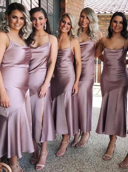 Sheath Spaghetti Straps Lilac Satin Bridesmaid Dress - Bridesmaid Dresses