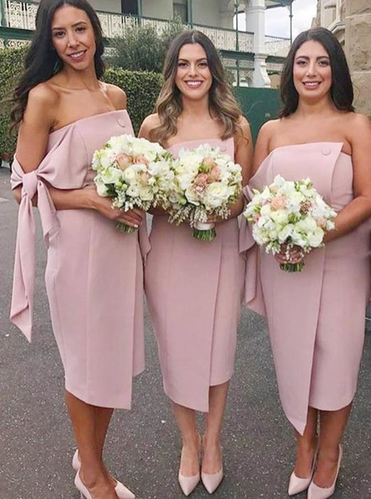 Sheath Strapless Knee Length Blush Satin Bridesmaid Dress - Bridesmaid Dresses