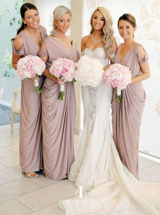 Sheath V-Neck Cold Shoulder Ruched Purple Satin Bridesmaid Dress - Bridesmaid Dresses