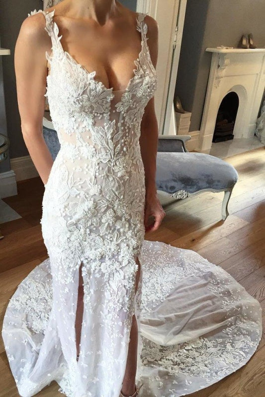 Sheath V-neck Sleeveless Court Train Lace Appliques Beach Wedding Dress - Wedding Dresses