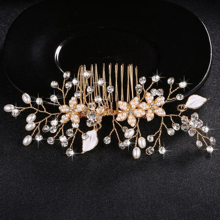 Shiny Crystal Peals Womens Combs & Barrettes | Bridelily - Gold - combs and barrettes