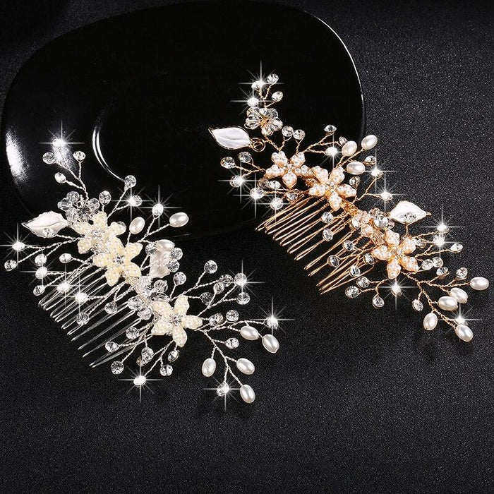 Shiny Crystal Peals Womens Combs & Barrettes | Bridelily - combs and barrettes