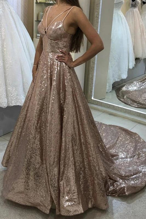 Shiny Puffy Sleeveless Sequined Court Train Prom Dress Sparkly Sequin Evening Dresses - Prom Dresses