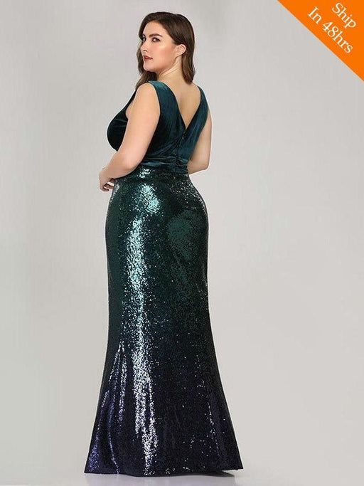 Shiny V-Neck Sequined Green Mermaid Party Dresses - evening dresses