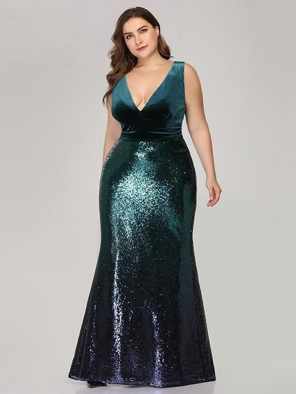 Shiny V-Neck Sequined Green Mermaid Party Dresses - Green / 4 / United States - evening dresses