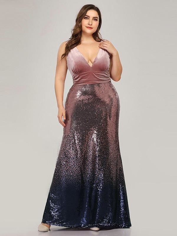 Shiny V-Neck Sequined Mermaid Party Dresses - Pink / 4 / United States - evening dresses