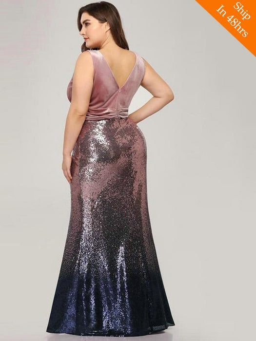 Shiny V-Neck Sequined Mermaid Party Dresses - evening dresses