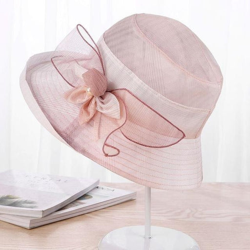 Silk Wide Brim Floral Pearl Flowers Beach/Sun Hats | Bridelily - PINK - beach/sun hats