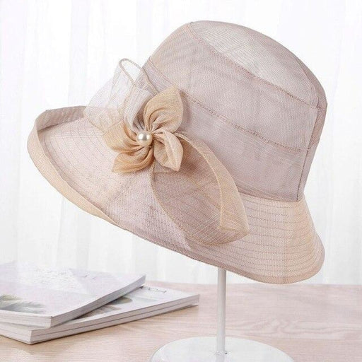 Silk Wide Brim Floral Pearl Flowers Beach/Sun Hats | Bridelily - BEIGE - beach/sun hats