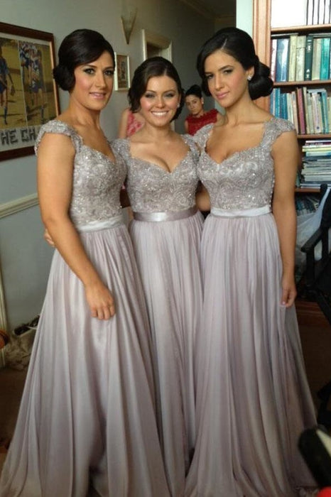 Silver Hot V-neck Chiffon Lace Appliques Bridesmaid Dress - Bridesmaid Dresses