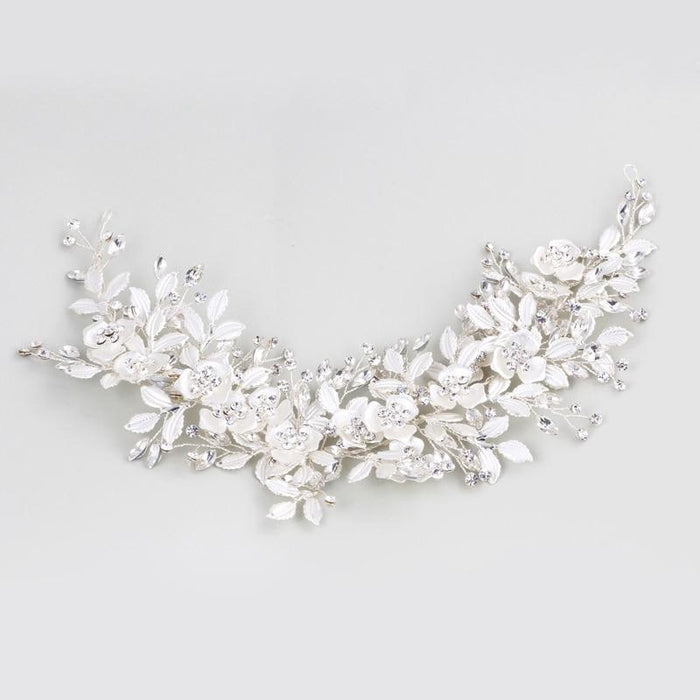 Silver Jewelry Handmade Floral Headpieces | Bridelily - Silver - floral headpieces