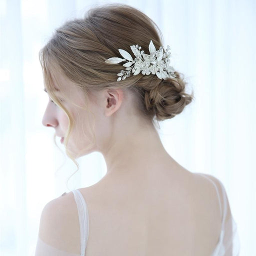 Silver Leaf Crystal Womens Floral Headpieces | Bridelily - floral headpieces
