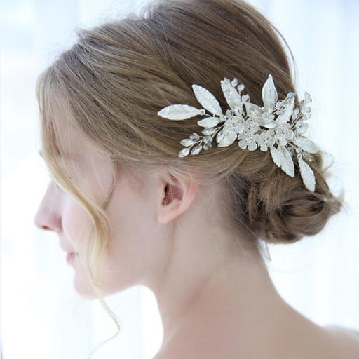 Silver Leaf Crystal Womens Floral Headpieces | Bridelily - Same as picture colour - floral headpieces