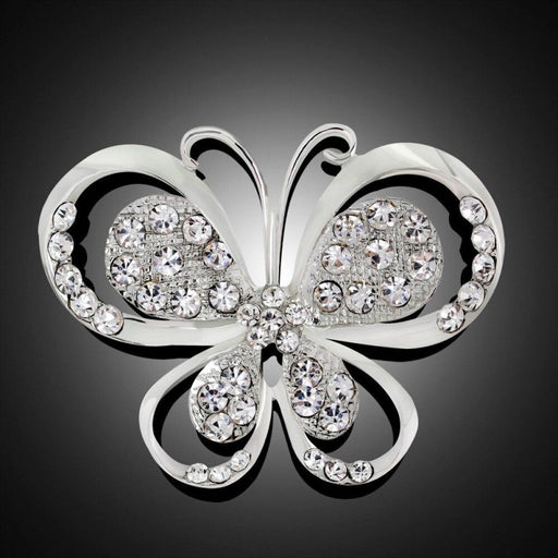 Silver Plated Crystal Butterfly Bridal Brooches | Bridelily - brooches