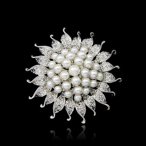 Silver Plated Pearl Flower Wedding Brooches | Bridelily - brooches