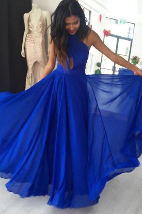 Simple A Line Prom Gown Halter Royal Blue Chiffon Evening Dress with Keyhole - Prom Dresses
