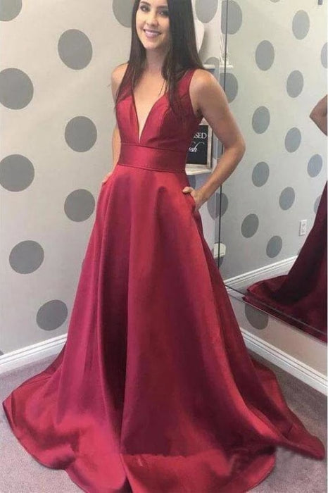 Simple A-line V-neck Satin Long Cheap Red Puffy Prom Dresses with Pocket - Prom Dresses