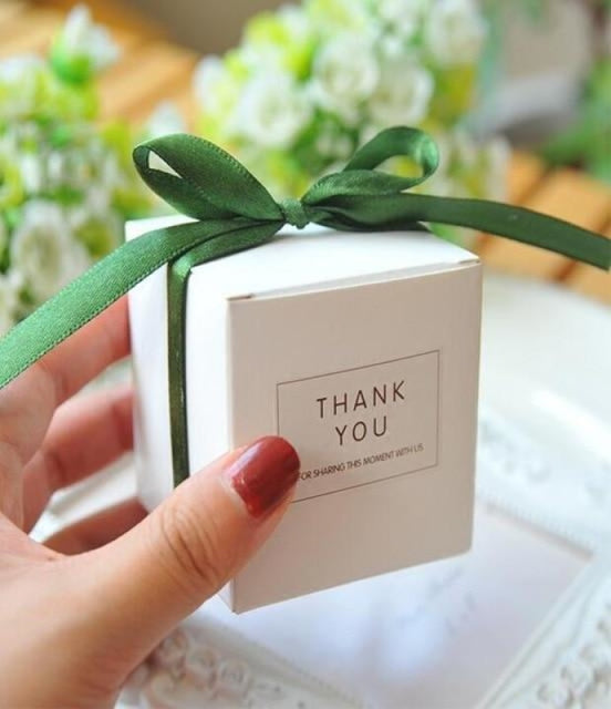 Simple Atmosphere White With Bow Favor Holders | Bridelily - Olive / 50pcs - favor holders