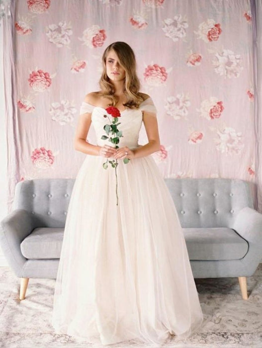Simple Beach A-Line Off-Shoulder Tulle Wedding Dress - Wedding Dresses