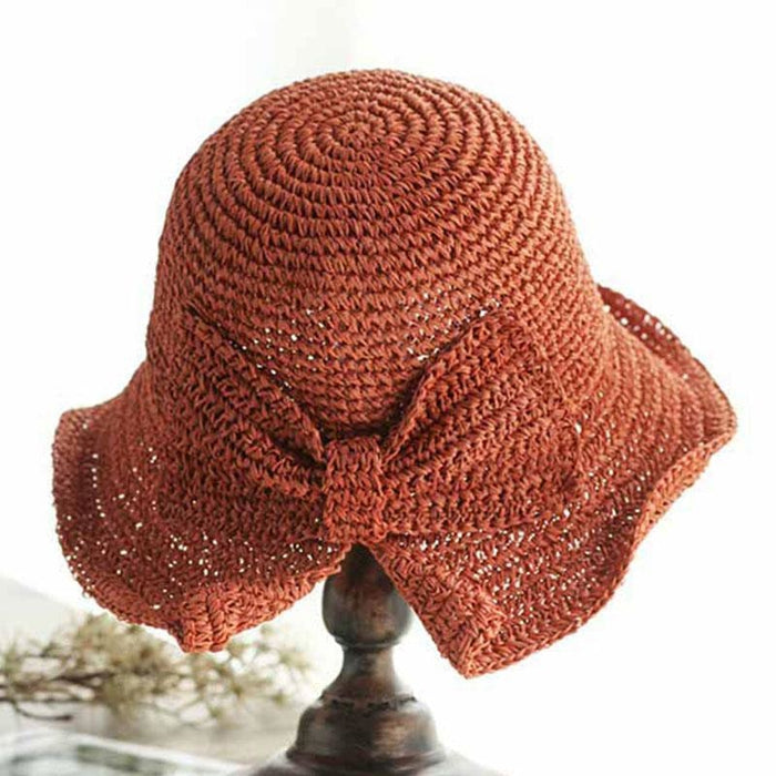 Simple Bow Large Brim Foldable Crochet Straw Hats | Bridelily - straw hats