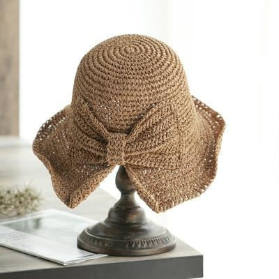 Simple Bow Large Brim Foldable Crochet Straw Hats | Bridelily - khaki / Adult - straw hats