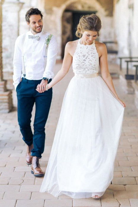 Simple Jewel Sleeveless Gown Lace Top Tulle Beach Wedding Dress - Wedding Dresses